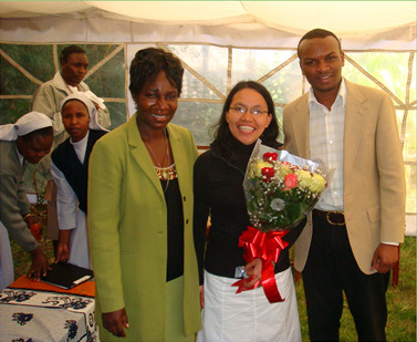 Theresia Sinaga (Center) at the  Servants of the Sick Training Center Graduation  with CTF/SOS DR's Member Alice Sarry, and volunteer Gideon Karuri