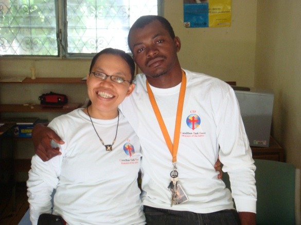 Theresia, the program director of the Carcasse feeding and microfinance programs, and her assistant MarcDaly