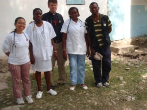 The team in Savan laRoch - Theresia, Ana, Fr. Scott, Victonia, MarcDaly