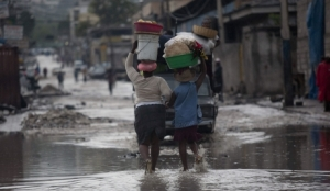 Water on the street in many places in Haiti